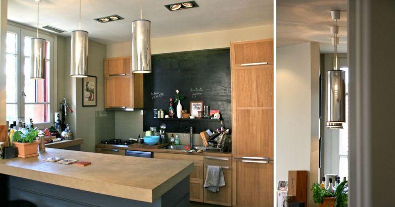 Rénovation d'un appartement ancien modernisé par parquet noir, décloisonnement avec cuisine ouverte, bar en béton - Julie Béringué Architecte d'intérieur à Toulouse