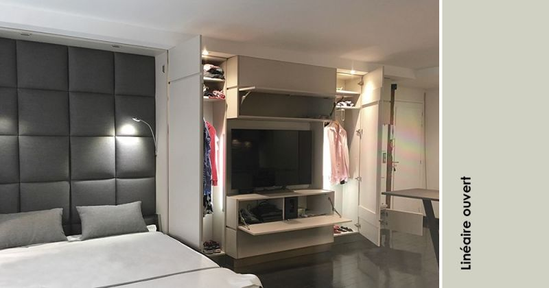 Studio à l'esprit hôtel de standing composé de rangements sur-mesure, de miroirs, dekton, bois et métal - Julie Béringué Architecte d'intérieur à Toulouse